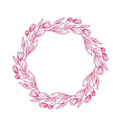 hand drawn flower wreath with branches vector image