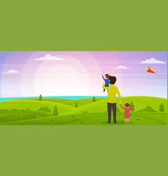 happy fathers day dad with his son on his hands vector image