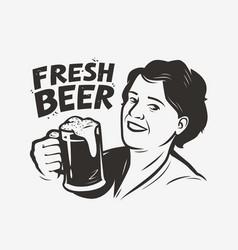 happy woman holding a beer mug retro vector image