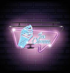 Ice cream sweet neon label vector