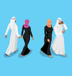 Isometric arabic couple front and back view vector