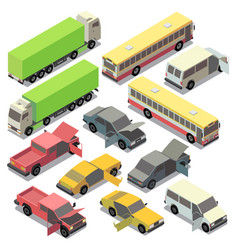 Isometric urban transportation repairs car vector
