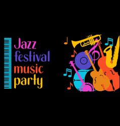 Jazz festival music party banner with musical vector