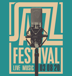 jazz music festival poster with a microphone vector image