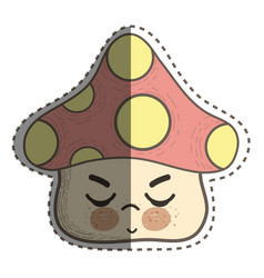 Kawaii fangus angry with close eyes and cheeks vector