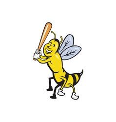 Killer Bee Baseball Player Batting Isolated vector