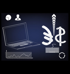 laptop dollar and euro vector image