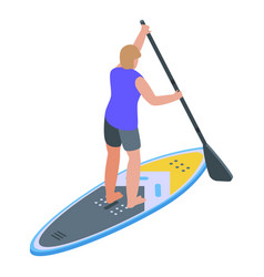 Man stand up paddle icon isometric style vector