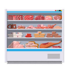 meat products in supermarket fridge vector image