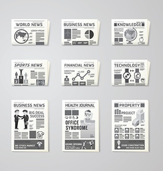 Newspaper daily flat set design template vector