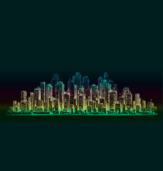 Night city background hand drawn vector