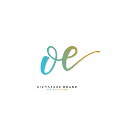 O e oe initial letter handwriting and signature vector