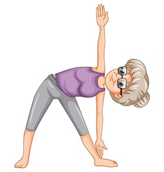 Old lady doing yoga vector