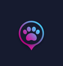 paw and location mark pet app logo vector image