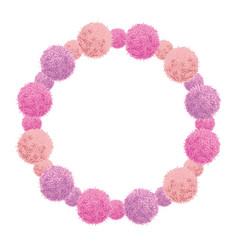Pink baby girl birthday wreath party pom vector