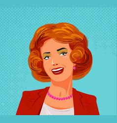 portrait of happy beautiful woman pop art style vector image