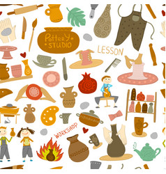 Pottery studio seamless pattern for your design vector