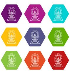 Railway tunnel icons set 9 vector