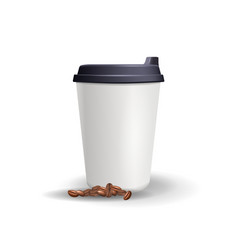realistic plain and blank paper cup mockup with vector image
