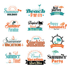 retro summer badge vector image