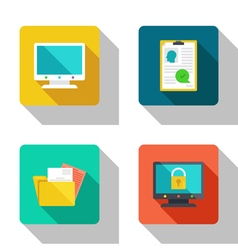 Secure computer and recruitment flat Icons vector