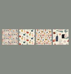 set colorful natural seamless patterns vector image