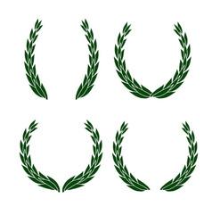 Set laurel wreath icon different shapes vector