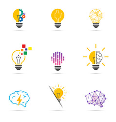 set light bulb icon energy and idea symbol vector image