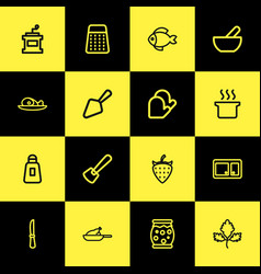 set of 16 editable food icons line style includes vector image