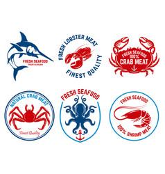 set of seafood market emblems design element for vector image