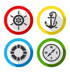 Set of travel flat color icons vector image