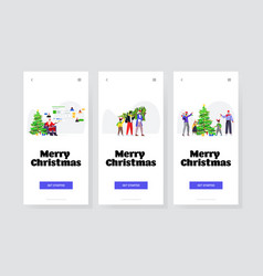 set people preparing for winter holidays happy new vector image