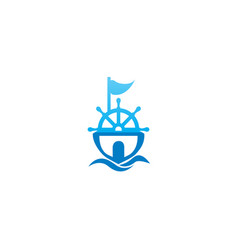 ship sailing with a flag and wheel for logo vector image