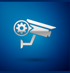 Silver security camera and gear icon isolated on vector