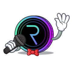 Singing request network coin mascot cartoon vector