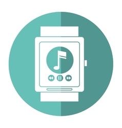 Smartwatch music player app technology shadow vector
