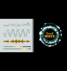 sound waves set on black and white background vector image