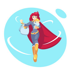 super mother holding son in her arms and shopping vector image