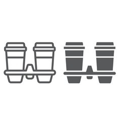 Take away coffee cups line and glyph icon cofeee vector