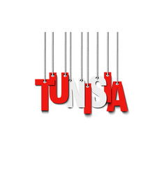 The word tunisia hang on the ropes vector