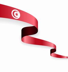 Tunisian flag wavy abstract background vector