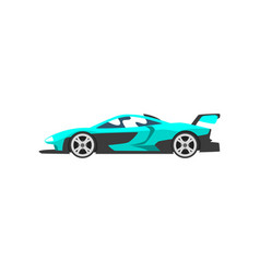 Turquoise sports racing car supercar side view vector