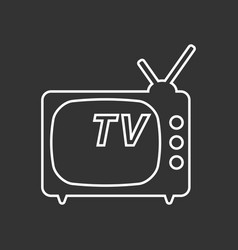 tv icon in line style isolated on black vector image