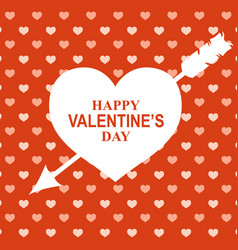 valentines day greeting card on red background vector image