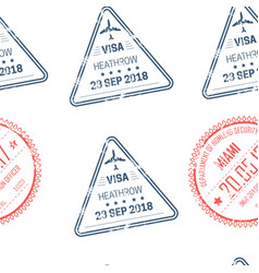 visa stamps seamless pattern traveling and country vector image