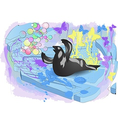 Walrus on ice vector