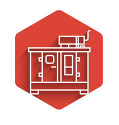 White line diesel power generator icon isolated vector