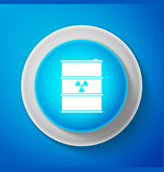 White radioactive waste in barrel icon vector