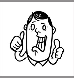 widely smiling man showing the gesture thumb up vector image