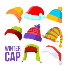 winter cap set cold weather headwear hats vector image